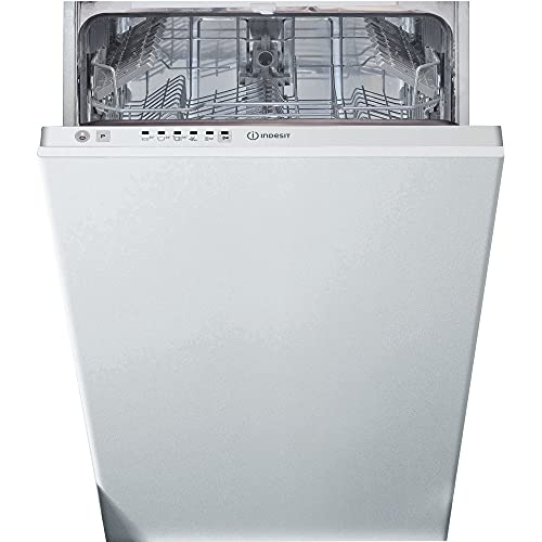 Indesit DSIE 2B10 dishwasher Fully built-in 10 place settings A+ - Dishwashers (Fully built-in, White, Slimline (45 cm), Black,White, Buttons,Touch, 1.3 m)