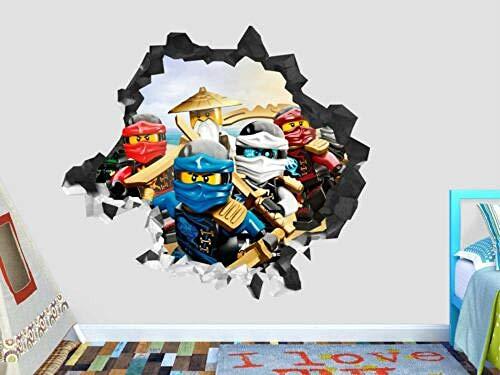 WTQang Pegatinas de pared Lego Phantom Legend calcomanía de pared decoración destrozada 3d pegatina de vinilo de arte