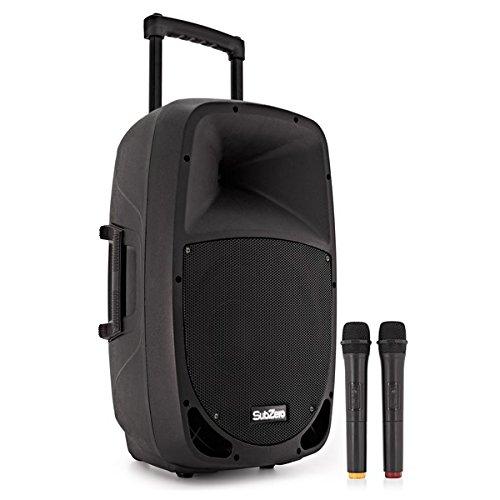 PA Portatil con Bluetooth SubZero SZPA-P12 + Microfonos Inalambricos