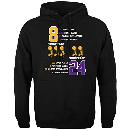 The Jung Apparel Mens Retired Number 8 24 Kobe Farewell Tribute Hoodie Sweatshirt (2XL) Black