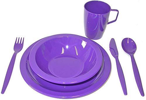 Harfield Polycarbonate Camping Tableware Set - Purple