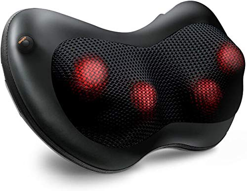 Naipo Shiatsu Neck Back Massager Massage Pillow with Heat, Deep Tissue Kneading Massager for Shoulder, Lower Back, Leg, Foot, Muscle Pain Relief, Best Relaxation Gifts in Home Office and Car