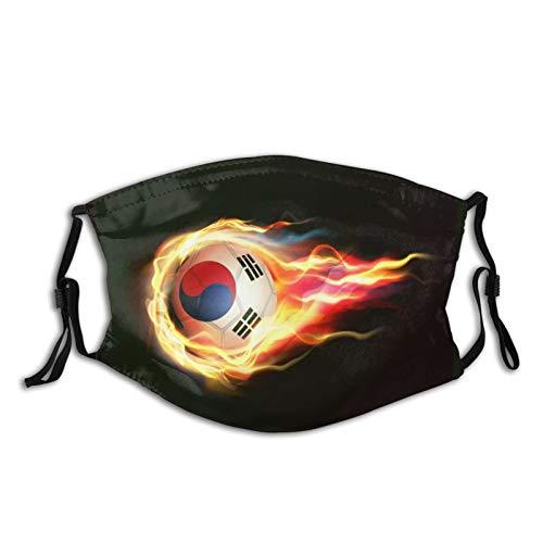 2021 Neu Mundschutz Atmungsaktive Gesichtsmundabdeckung Staubdichter,South Korea Flag with Flying Soccer Ball On Fire,Gesichtsdekorationen
