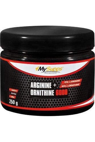 MySupps- L-Arginin + L-Ornithine, hochdosierter Aminosäuren Komplex, 3400mg L-Arginin & 1400mg L-Ornithine HCL pro Portion, Pre Workout Boost, für Sportler und Athleten, Made in Germany- 250g Pulver