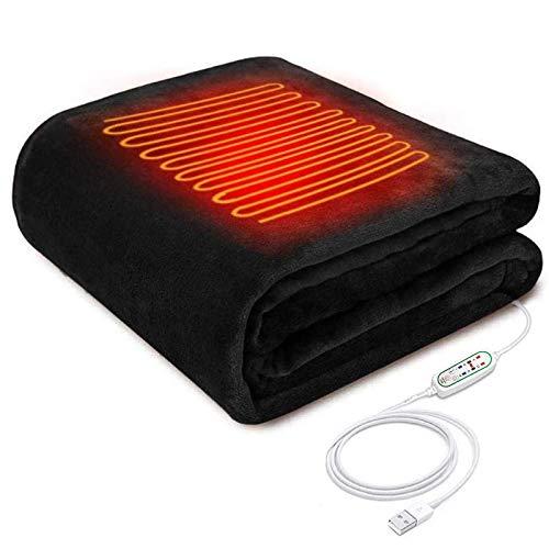 電気ブランケット usb 電気毛布 洗える ひざ掛け 肩掛け 100*60cm 3段階温度調節 タイマー キャップ 暖房器具 テント泊用 掛け 敷き 洗濯可能