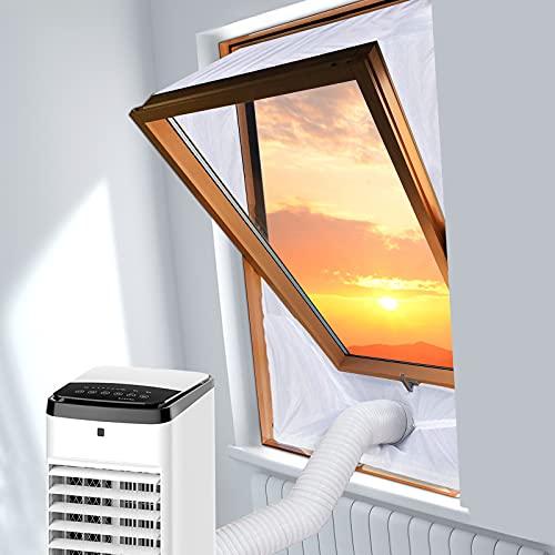SRJTEK Kit de sellado para ventanas de techo con pivote central para aire acondicionado portátil y secadora de ropa, protectores de intercambio de aire con cremallera y adhesivo