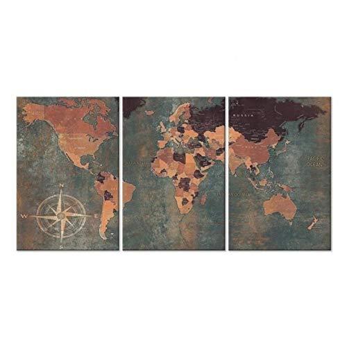 Wand Vintage Weltkarte Grün Englisch Texte Weltkarten Drucken auf Leinwand Gemälde Foto auf Leinwand 50x70cmx3 Kein Rahmen