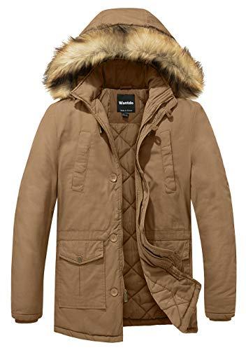 Wantdo Men's Winter Insulated Quilted Lined Workwear Jacket Hoodie Coat Medium Khaki