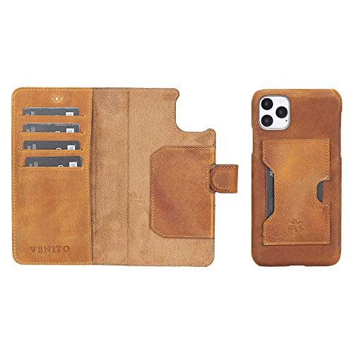 Venito Florence Leather Wallet Phone Case Compatible with iPhone 11 Pro Max - Extra Secure with RFID Blocking - Detachable Phone Wallet (Antique Brown)
