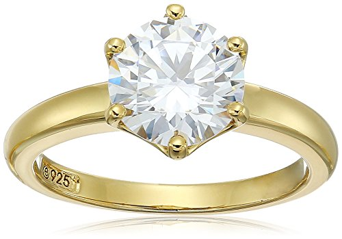 Amazon Collection Yellow-Gold-Plated Sterling Silver Swarovski Zirconia Round Solitaire Ring, Size 7