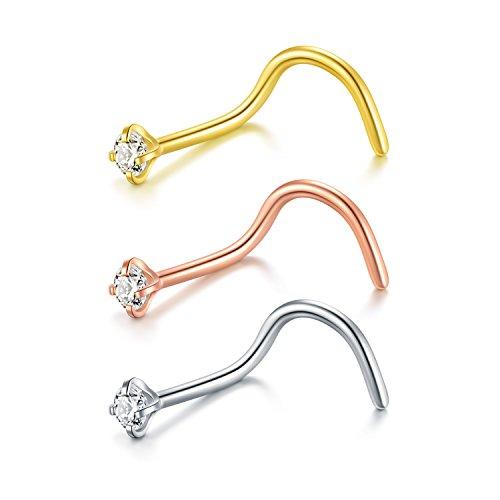 Zolure Stud de Tornillo de Nariz Espiral Piercing de Nariz Acero quirúrgico Joyería del Cuerpo