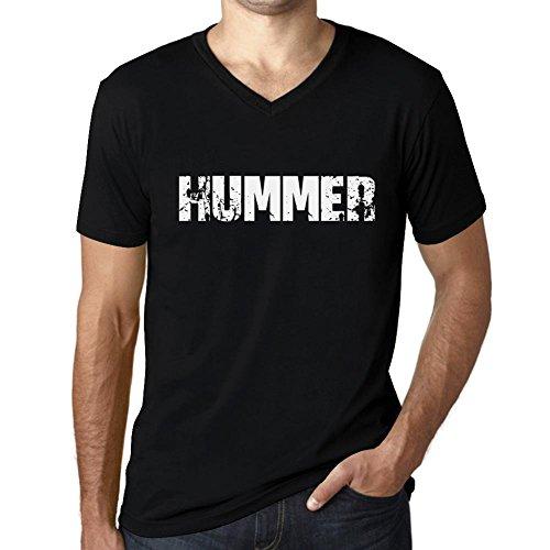 One in the City Hombre Camiseta Vintage V-Neck T-Shirt Hummer Negro Profundo Texto Blanco