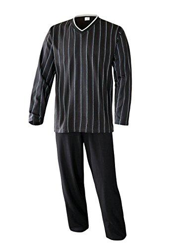 Schlafanzug Herren lang Herren Pyjama lang Hausanzug Herren aus 100{81d0337fb3e969c67bd99e876b9b38b6a1560b089d1b597858ef13f17d745a82} Baumwolle Model Vintage, Anthrazit, L/52