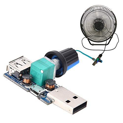KASD Controlador De Velocidad del Ventilador, 2 Piezas DC4~12V Controlador De Velocidad del Ventilador USB Mini Ventilador USB Regulador De Control De Velocidad Continuo con Perilla De