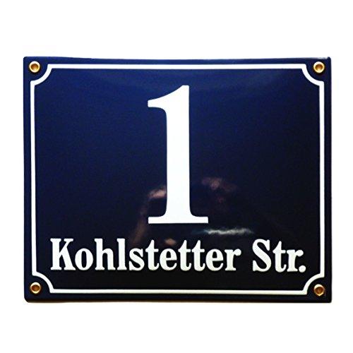 Hausnummer Hausnummernschild Emaille 20x25 cm mit Wunschstraßennamen und Nummer