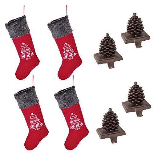 4calza di Natale set regalo (calza: H23x W11inch/Holder: h5.5inch) renna adatta Nordic Heart calze con dettagli (più grande) e quattro marrone antico rifinito a mano riciclato metallo in ghisa portafoto, calza appendiabiti–festive Home decorazione per camini/davanzale/camino–perfetta alternativa al tradizionale–Gancio per calza, ideale per calza di Natale in famiglia (: H51x W18CM/Holder: H14x W11CM)