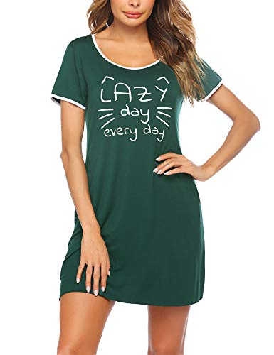 untlet Damen Nachthemd Baumwolle Printed Kurzarm Scoopneck High Low Sleep Tee Nachtwäsche Nachtkleid S-XXL