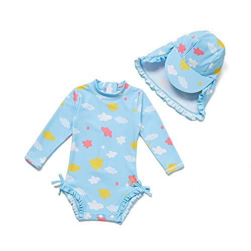 Baby Mädchen Ein stück Langärmelige-Kleidung UV-Schutz 50+ Badeanzug MIT Einem (Wolke, 18-24)