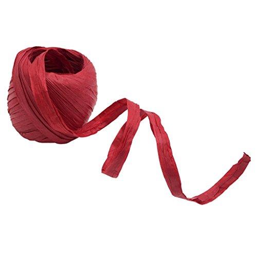 Fenteer 20 Meter Bast Papierschnur Bastelschnur Papierband Blumenbast Bindebast Papierdraht Papierkordel Geschenkpapier zum basteln dekorieren - rot