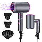 Hair Dryer, 1900W Blow Dryer with Diffuser, Ionic Hair Dryer with Powerful AC Motor, 3 Level Warm Wind/2 Gear Speed Foldable Blowdryer for Home Salon Travel, 2 Nozzles 1 Diffuser Included (Gray)