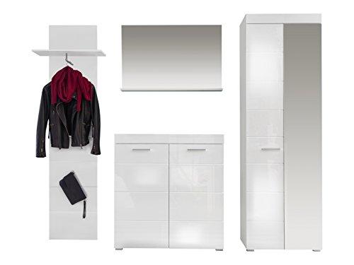 trendteam Garderobe Garderobenkombination 4-teiliges Komplett Set Amanda, 233 x 195 x 38 cm in Weiß Hochglanz mit viel Stauraum