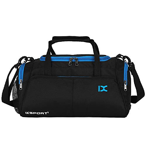 Tooart Travel Duffele Bag - 18L Waterproof with Separate Shoe Compartment for Men Women Sports Gym Tote Bag - Red/Grey/Blue Black/Blue/Green