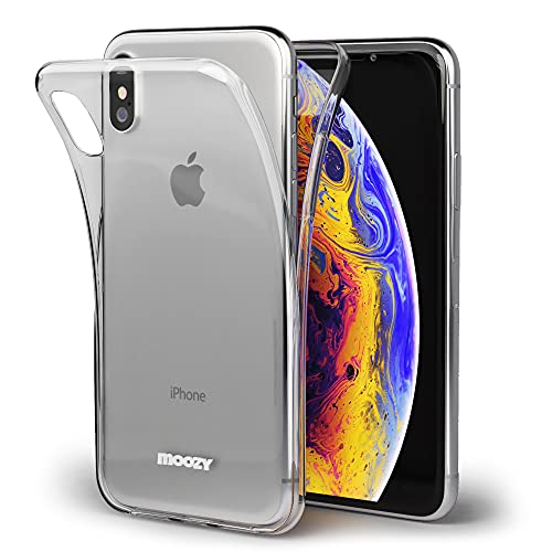 Moozy Cover Protezione 360 Gradi per iPhone X, iPhone XS Silicone Trasparente - Full Body Custodia TPU Case Copertura Completa