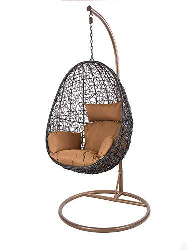 Kideo Swing Chair Sillón Colgante Hamaca Sillón de Descanso Muebles de Salón *Eyecatcher* - Negro/marrón