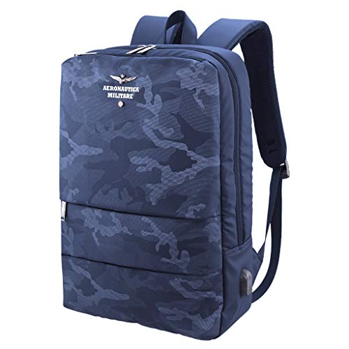 Aeronautica Militare Backpack in technical fabric camouflage PC port 15 USB socket color BLUE