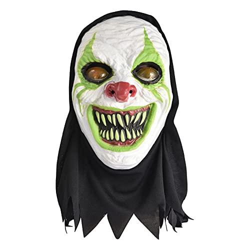 Máscara de payaso de terror, novedad de látex de horror brillante máscaras luminosas para cosplay de payaso de disfraces de Halloween