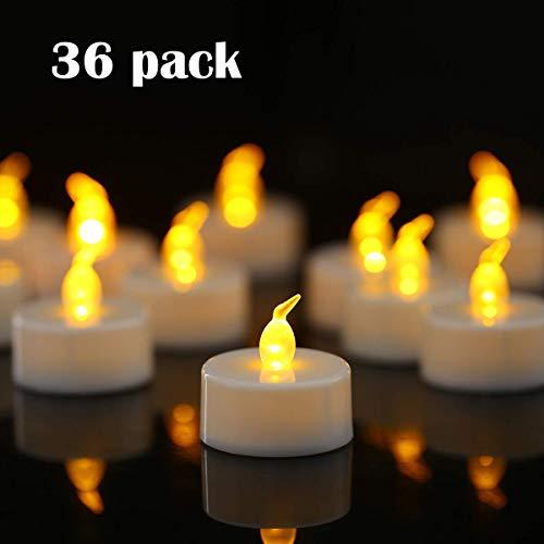 YIWER 36 unidades LED Velas CR2032 pilas velas sin llama,Velas de té,Velas LED,Velas parpadeantes sin Llama,Velas Artificiales realistas a Pilas con luz Amarilla cálida,36pcs