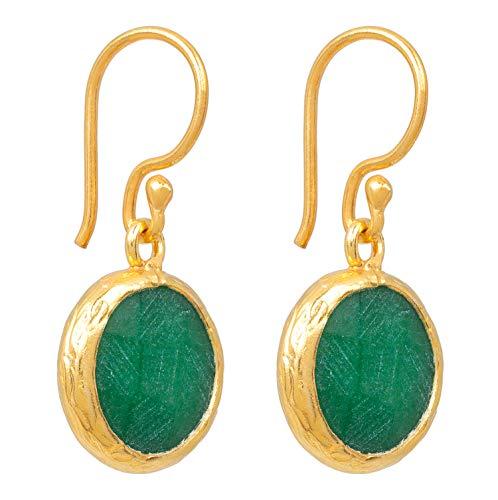 SOFORT LIEFERBAR - SARAH BOSMAN Damen Ohrringe Gold Plate Green Jade - Ohrhänger runde Platte Silber vergoldet eingefasster Grüner Edelstein - 14 mm Durchmesser - SAB-E03GREJADg