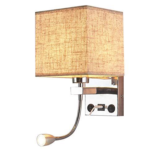 POOPFIY LED-Schlafzimmerleuchte, USB-Ladewandleuchte, Lampenschirm Aus Stoff Und LED-Leselampe Mit Verstellbarer Armlehne, Geeignet Für Das Bettsofa Im Schlafzimmer, Wohnzimmer, 2 Schalter,Beige