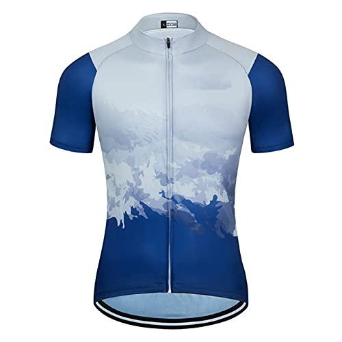 DSMGLSBB Maillot de ciclismo para hombre, manga corta, cremallera completa, transpirable, tejido de secado rápido, para ciclismo, equitación, deportes al aire libre, 02, L