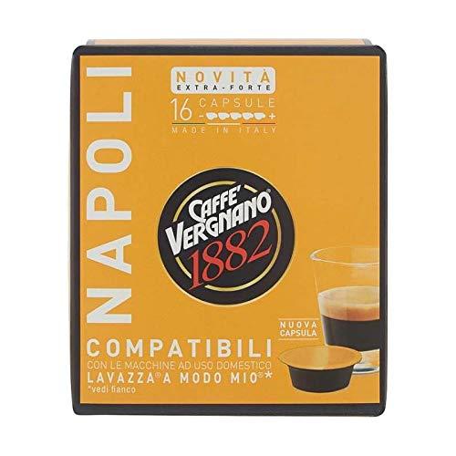 128 Capsule Napoli Caffè Vergnano Compatibili Lavazza A Modo Mio - 8 confezioni da 16 capsule. Strong Coffee
