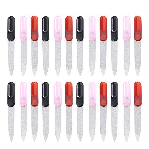 Pixnor 24Pcs Limes à Ongles en Métal Émeri Planche Tampons à Ongles Fichiers de Ponçage Double Face pour Fournitures D'art Outils à Ongles (Couleur Aléatoire)