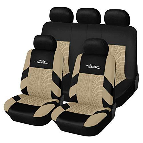 LEIJINGZI Cubierta de asiento de coche, 9PCS cubierta del asiento delantero y kit de cubierta banco de separación, airbag compatible con 3D en relieve cubierta de asiento de coche franja patrón, adecu