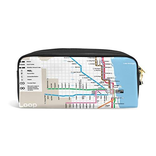 DEZIRO Classic Chicago Subway Map Federmäppchen Box Kosmetiktasche