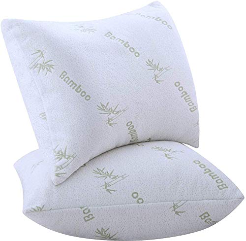 Pillows for Sleeping 2 Pack King Size Bamboo 18x36 Inches Polyester FilledUltra Soft Pair Set of 2 Cool Washable Breathable Pillows Medium Support (2 Pack Bamboo Pillows King)…