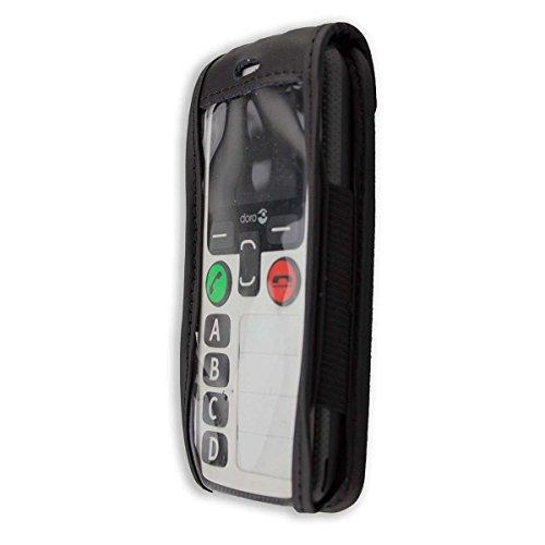 caseroxx Ledertasche mit Gürtelclip für Doro Secure 580 / 580IUP aus Echtleder, Handyhülle für Gürtel (mit Sichtfenster aus schmutzabweisender Klarsichtfolie in schwarz)