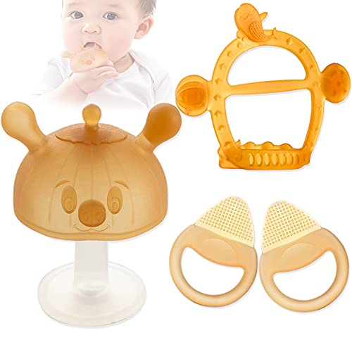 Baby Teethers,Silicone Baby Teething Toy Set 4PCS,Cute chew Toys for Babies Infant Boys and Girls 3-6 Months