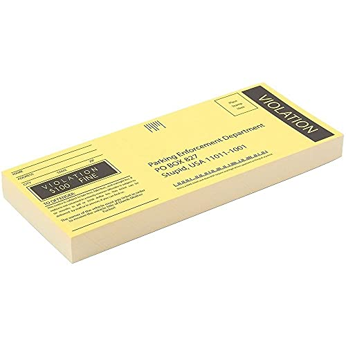 Blue Panda 100-Sheet Fake Parking Tickets - Ticket Prank Gag Gifts Great for Pranks Party Favors 6 x 2.5 Inches