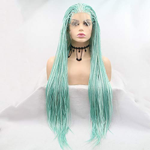 Melody Wig Blonde/Green Mixed Braid Wig Synthetic Lace Front Braid Wigs Heat Resistant Fiber Long Box Braid Wigs High Density