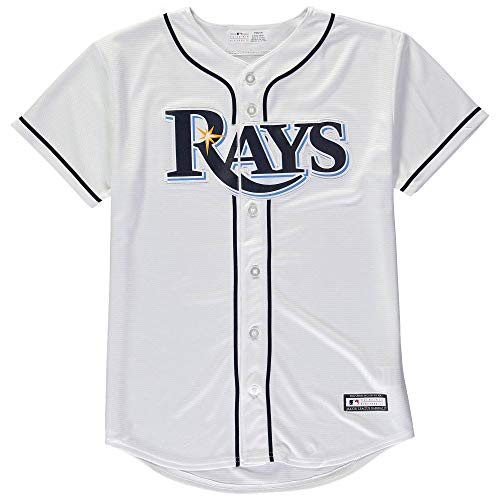 Tampa Bay Rays Blank Word Mark White Youth Cool Base Home Jersey (Small 8)
