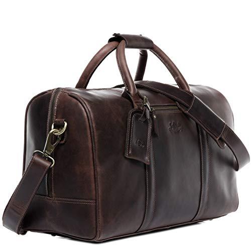 SID & VAIN Reisetasche echt Leder Chad   Vintage-Look   XL groß Sporttasche Weekender Ledertasche Herren braun