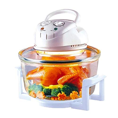 Zidao Halogen Oven, Hot Air Oven Mini Halogen Oven Hot Air Grill Digital Halogen Oven Accessories Timing Function 34 X 39 X 34 cm 1200-1400 W 250°C,Clear