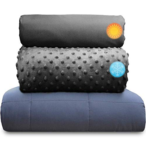 chilla 20 lbs Weighted Blanket Set   3 Piece Set   Summer + Winter Duvet Covers   60in x 80in   Carbon