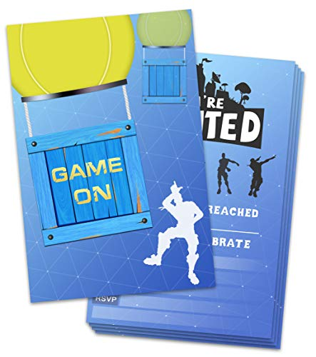 Yangmics Direct 30 Pack Gaming Party Invitations with Envelops - Video Game Invitations for Kids Boys - Video Game Party Supplies