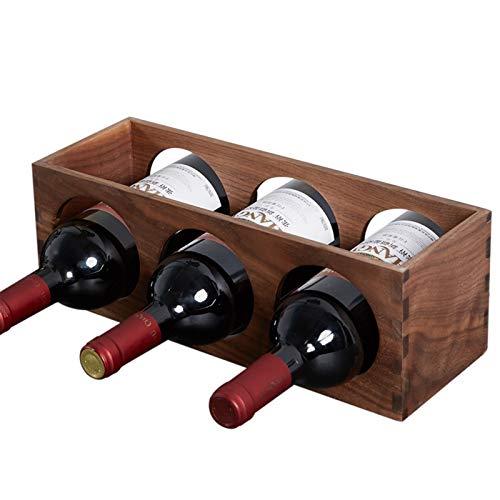 ZHAIHL Estante para Vino Pequeño De Madera Maciza para El Hogar, Moderno Estante para Vino Embotellado Que Se Puede Colocar Horizontalmente, Apilable, Marrón Natural (Size : 35x12x12cm)