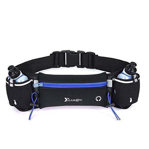 Marathon - Riñonera de doble bolsillo para correr, cinturón de cintura unisex para teléfono deportivo, paquete de riñonera de fitness (azul con 2 botellas)